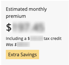 Screenshot of Extra Savings Label